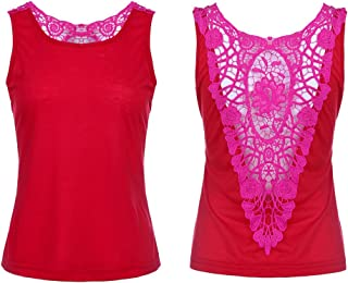 VESKRE Women's Sexy Lace Sleeveless Casual Vest Summer Tank Tops Blouse Tunic