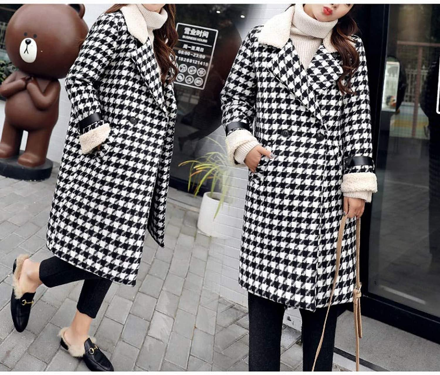 Coat Jacket, Woolen Coat, Plaid Woolen Coat, Medium and Long Winter Women's Plus Cotton Padded Loose Warm Woolen Coat PLLP
