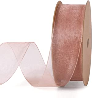LaRibbons 1 Inch Sheer Organza Ribbon - 25 Yards for Gift Wrappping, Bouquet Wrapping, Decoration, Craft - Rose