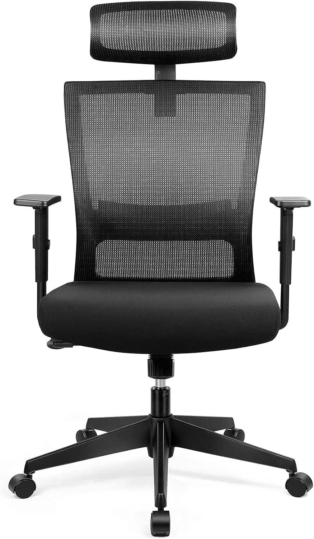 Silla de oficina Giratoria Silla de Escritorio ergonómica con reposacabezas ajustable, reposabrazos abatibles, función basculante, altura del asiento ajustable, 136 kg silla de red