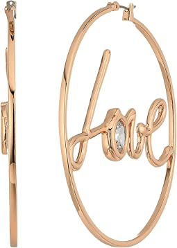 Blue by Betsey Johnson Rose Gold Tone Hoops and 'Love' Detail with CZ Stone Accent Earrings