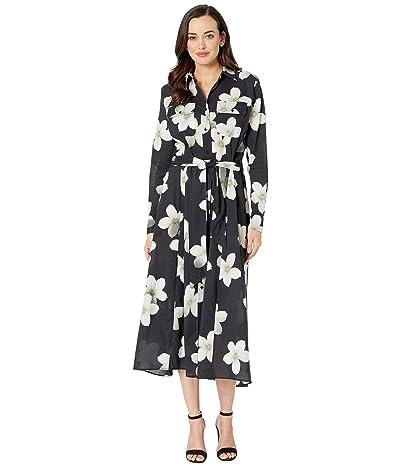 LAUREN Ralph Lauren Villa Floral Maxi Shirtdress (Black/White) Women
