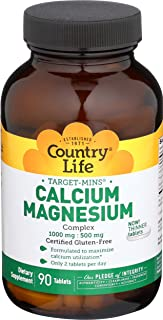 Country Life Target Mins Calcium-Magnesium Complex 1000 Mg-500 Mg Per 2 Tablets), 90-Count