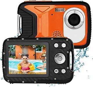 BYbrutek Cámara Digital para Niños 21MP 1080P Full HD 5 Metros Impermeable Cámara Subacuática para Niños LCD de 28 Pulgadas Zoom Digital 8X con Batería Recargable de 1050MaH (Naranja)