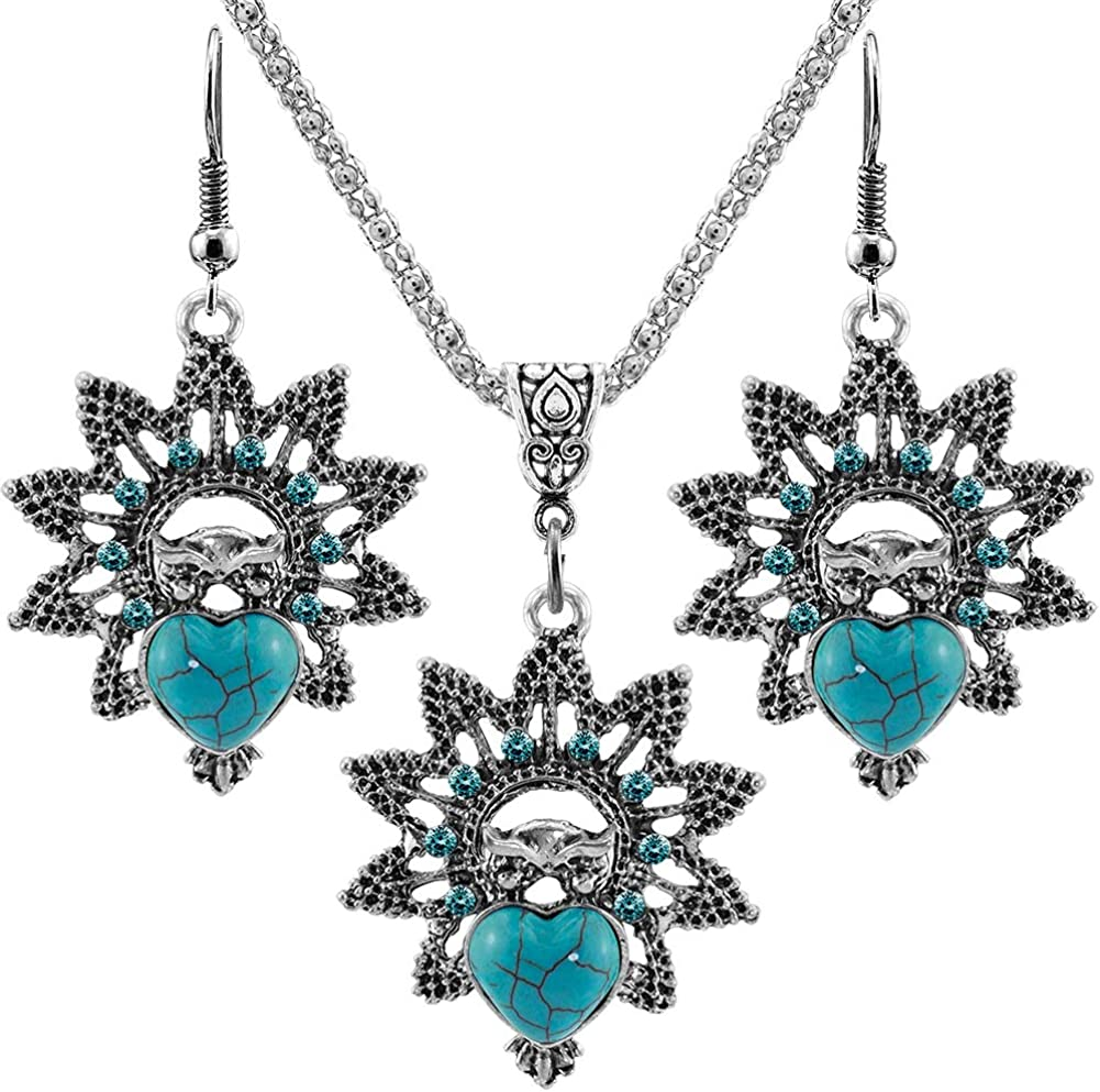 """Turquoise Pendant Necklace Earring Set, Retro Turquoise Jewelry Gifts for Women Girls 19"""" + 2.5"""""""