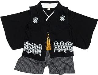 [キョウエツ] ロンパース 袴風 男の子 ベビー服 カバーオール 2点セット(袴ロンパース、羽織ベスト) ベビー (70, 着物黒+羽織黒)