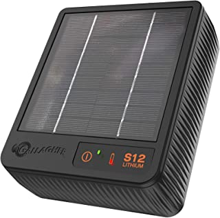 Gallagher S12 Solar Electric Fence Charger | Powers Up to 0.7 Miles / 1.5 Acres of Fence | Solar Lithium Technology, 0.12 Stored Joule Energizer | Built-in Earthing | Portable and Super Tough