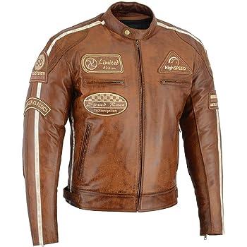 Shima HUNTER PLUS 2018 BROWN S-3XL Bel/üftet Herren Leder Motorradjacken R/ückenprotektor Vintage Retro Sommer 2018 XXL Braun