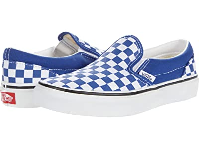 Vans Kids Classic Slip-On (Big Kid) ((Checkerboard) Limoges/True White) Boys Shoes