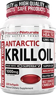 Krill Oil 1000mg/Serving 120ct Bottle Softgel Capsules Source of Pure Omega 3s EPA DHA and Astaxanthin Superba2 (TM) MSC Certified Red Oil Supplement for Mega Results Best Antarctic Fish Oil Supplemen