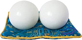 Addune White Baoding Balls Health Exercise Stress Hand Balls Marble Natural Stone Balls Gift Collection for Key Puncher Relax Finger