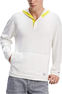 Tommy Hilfiger Ivory Mens Large Textured Hooded Sweater