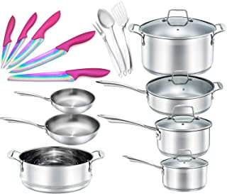Chef's Star 19 Piece Stainless Steel Pot & Pans Set - Professional Chef Grade Induction Ready Cookware Set - Impact Bonded Aluminium Technology - Bonus Pink Knife Set