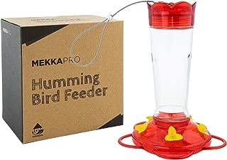 MEKKAPRO 10 Oz Outdoor Hummingbird Feeder Made from Glass, Hanging 5 Nectar Feeding Stations, Bright Red