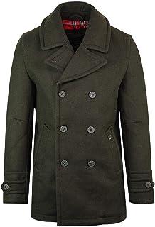 merc Mens London Trench Pea Coat Wool Mix Jacket Doyle - Khaki Green