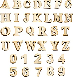Hslife 180Pcs Natural Color Wooden Letters and Numbers for DIY Craft Wedding Party Home Decoration