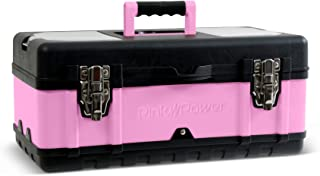 Pink Power Aluminum Tool Box for Tool or Craft Storage - 18 Inch Portable Tool Case with Locking Lid and Extra Storage Compartments