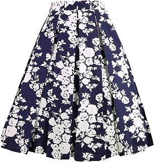 Dresstore Vintage Pleated Skirt Floral A-line Printed...