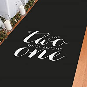 and The Two Shall Become One Black Wedding Aisle Runner (100 feet Long) Great for Modern Weddings