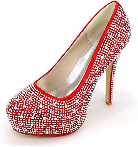 Elegant high chaussures Chenxia Chenxia Chenxia Homme-Mariage Soirée & EvéneHommest-Bleu-Talon Aiguille Plateforme Talon Cristal-a Plateau Confort Club de Chaussures Light Up Chaussures, rouge, 37 25b