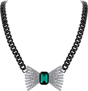 Women's Crystal Costume Statement Art Deco Bowknot Choker Necklace Green for Prom Banquet
