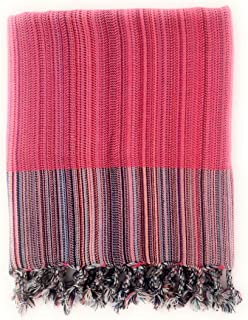 Weav Turkish Towel Peshtemal- 100% Cotton - Bath, Beach, Spa - 100 x 165 cm Double Sided (Pink)