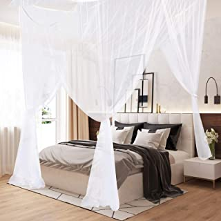 AIFUSI Mosquito Net, King Size Four Corner Post Curtains Bed Canopy for Single to Fits All Cribs and Beds for Adult Bedroo...