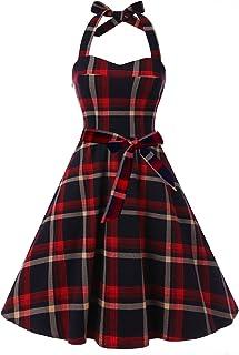 aaa62b0b1d2 Topdress Women sVintage Polka Audrey Dress 1950s Halter Retro Cocktail Dress
