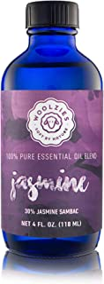 Woolzies 100% Pure Jasmine Essential Oil Blend 4oz| Cold-Pressed | Helps Be Positive Happy Relaxed Confident & Boost Mood |Enhances Sleep| Natural Therapeutic Grade | for Diffusion/Internal/Topical