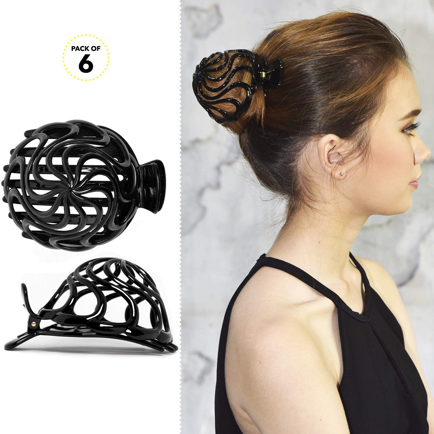 RC ROCHE ORNAMENT 6 Pcs Womens Shell Dome Round Circle Stylish Plastic Strong Grip Hinge Side Slide Bun Maker Clips Girls Beauty Accessory Hair Clip, Large Black