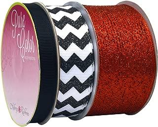 Morex Ribbon Sugar Chevron 3-Pack Ribbon, 23-Yard, Metallic Red/Black