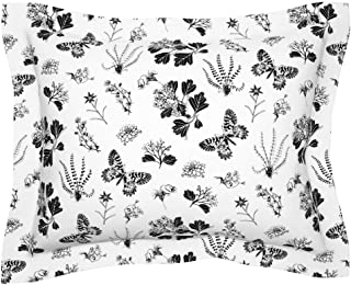 Roostery Pillow Sham, Greyscale Butterflies Plants Black and White Vintage Nature Butterflie Botanical Drawing Print, 100% Cotton Sateen 30in x 30in Flange Sham