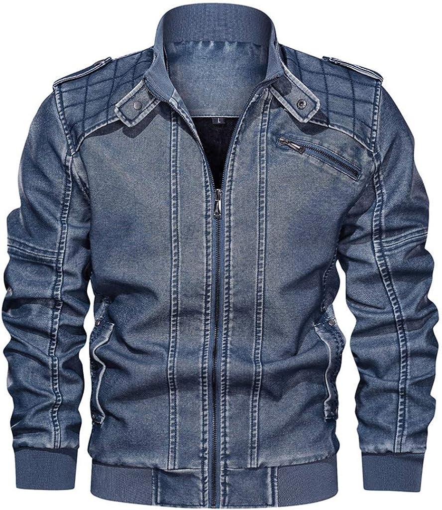 Plus Size Denim Jacket Men, NRUTUP Waterproof Canvas Jacket Winter Big and Tall Jacket Stand Collar Zipper Casual Jacket