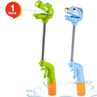 ArtCreativity 13 Inch Dinosaur Hand Grabber Water Squirter Toy, Dual Water Squirt Gun and Jaw Snapper Action, Great Interactive Toy, Fun Outdoor Summer Toys for Boys and Girls - Colors May Vary