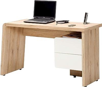 Marque Amazon -Movian Maggiore - Bureau à 2 tiroirs, 130x50x75cm, Blanc/finition chêne San Remo