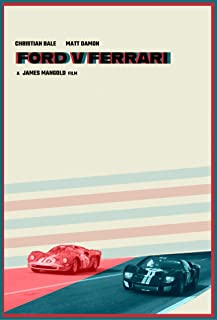 V978 Art fabric decor Poster Ford v Ferrari Movie 1966 Battle Car 14x21 24x36in