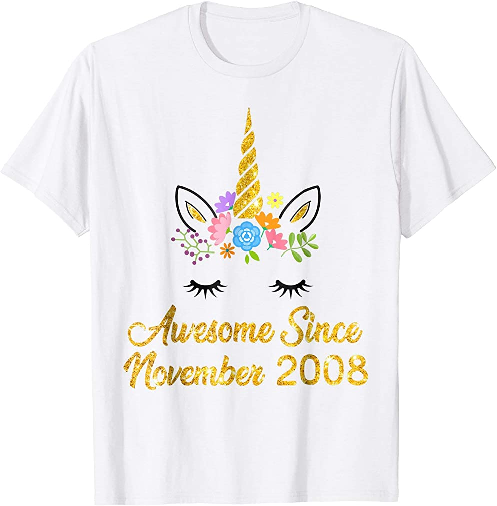 Awesome Since November 2008 Unicorn Birthday Girl Shirt