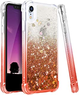 Ruky iPhone XR Case, Gradient Quicksand Series Glitter Bling Flowing Liquid Floating TPU Bumper Cushion Reinforced Corners Girls Women Case for iPhone XR 6.1 inches (2018), Gradient Coral
