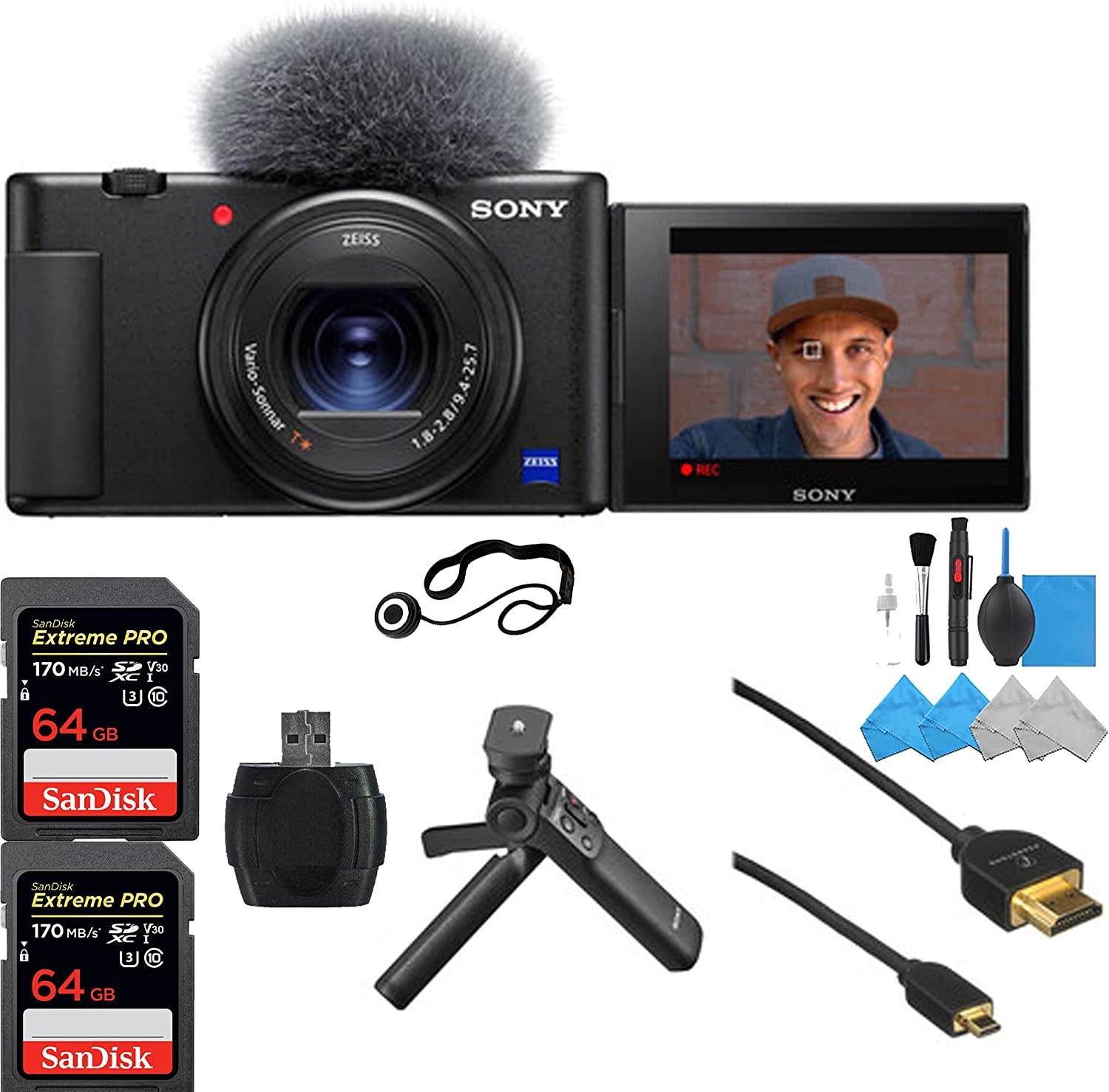 Sony ZV-1 Digital Camera with 2X 64GB Ranking TOP3 Memory Cheap sale Pro Extreme Sandisk