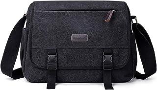 FANDARE Unisex Umhängetasche Schultertasche 14 Zoll Laptoptasche für Arbeit Herren Damen Messenger Bag Multifunktions Crossbody Bag Reise Arbeit Segeltuch Tasche Schwarz