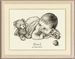 Vervaco Birth Record Baby with Teddy Counted Cross Stitch Kit, Multi-Colour