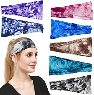 GOLESMIY 7 Pack Yoga Sports Workout Headbands Breathable Elastic Cotton Headbands for Running Fitness Hairbands for Women ...