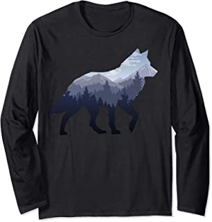 Lone Wolf Survives The Mountain Silhouette Art Long Sleeve