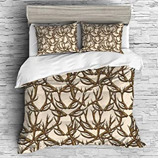iPrint Soft Luxurious 4 Pcs Decorative Quilt Duvet Cover Set Comforter Cover Set(King Size) Antlers Decor,Deer Antlers on Dotted Background Polkadot Vintage Horn Collecting Winter Decorative