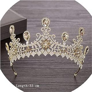 Rhinestone Crystal Tiara Crown Wedding Hair Accessories Bridal Tiara Hair Crown Wedding Hair Jewelry Crystal Tiara Golden Diade,Light Golden11