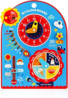 Jamohom Kids All About Today Calendar Board-Wooden Shape Sorting Clock-Preschool Educational & Learning Wooden Toy | Busy ...