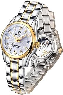 Carlien Women 's Diamond Watch自動機械防水レディースゴールド腕時計