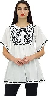 Phagun Women's Summer Aari Work Handkerchief Sleeve Cotton Maroon Tunic Top