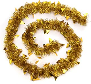 ARCCI Gold Christmas Tinsel Garland Xmas Tree Hanging, 3PCS x 6.6ft Soft Christams Garland Classic Shiny Sparkly Party Hanging Tinsel Ornaments Xmas Tree Ceiling Decorations, 8CM Wide