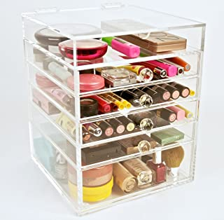 Acrylic Makeup Cosmetics Organizer 5 Drawer Beauty Cube Storage (Crystal Knobs)